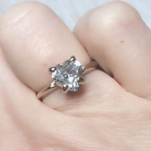 Pretty 2k Heart Engagement Promise Ring CZ